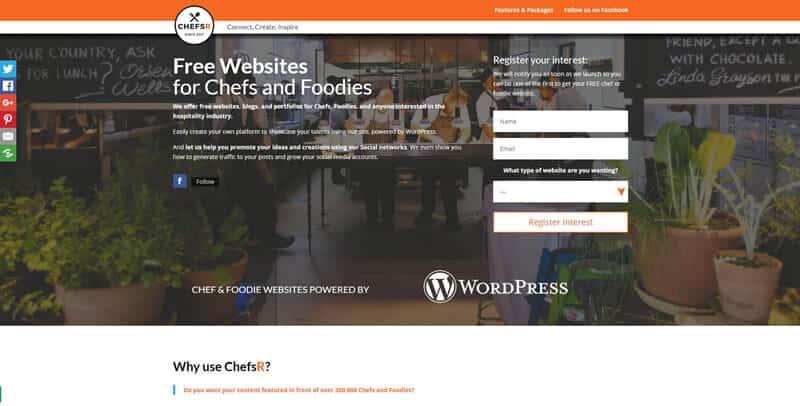 ChefsR WordPress website