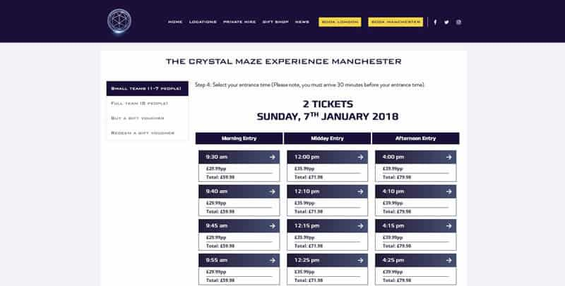 The Crystal Maze Live Tickets website