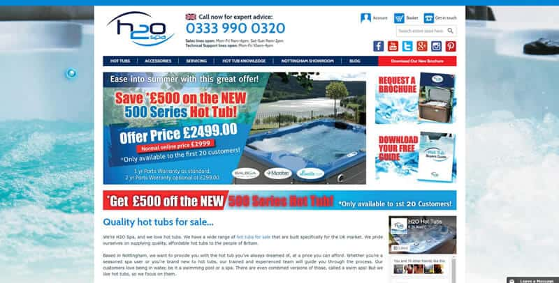 H2O Hot Tubs Magento eCommerce website