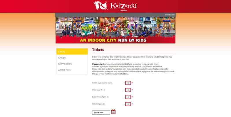 Kidzania Tickets website