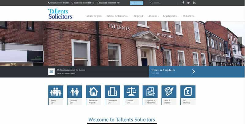 Tallents Solicitors WordPress website