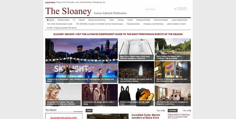The Sloaney WordPress website