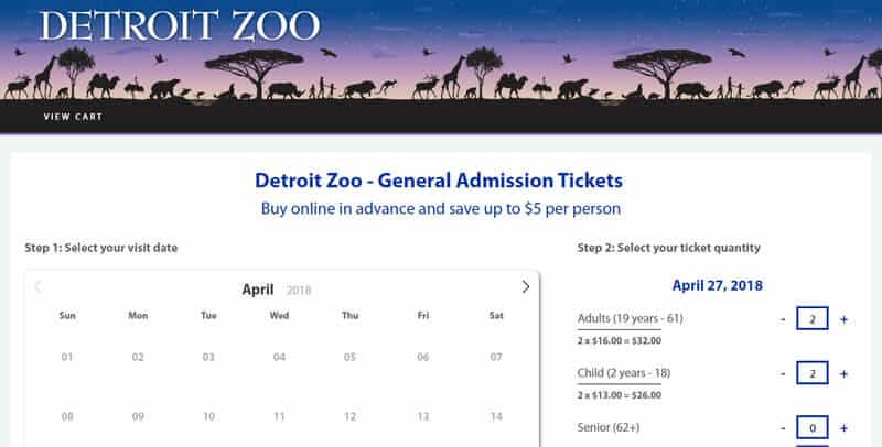 Detroit Zoo Tickets website